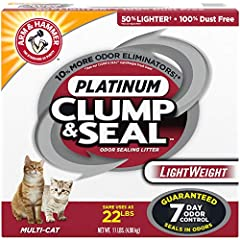 +10% more odor eliminators than our clump & seal lightweight fresh scent 100% dust free 50% lighter than our regular litter Patented formula seals and destroys odors on contact. Rock hard clumps 7 day odor-control guaranteed