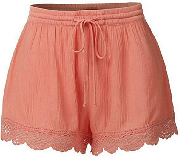 Wodceeke Women S Summer Plus Size Beach Shorts Solid Color Lace Casual Shorts High Waist Short Pants