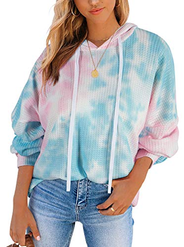 Berryou WomenShirt Drawstring Waffle Tie Dye Long Sleeve Pullover Sweatshirt PKB S
