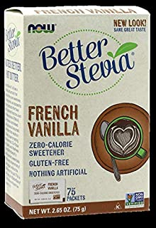 Now Foods, Better Stevia, French Vanilla, 75 Packets, (1 g) Each