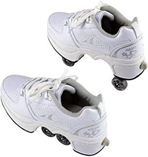 2 in 1 Double-Row Deform Wheel Roller Skates Shoes 4 Wheel Sneakers Pulley Automatic Walking Invisible Deformation Skating,37