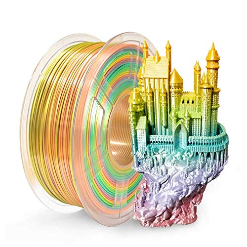 Silk PLA Filament 1kg Colorful Rainbow Silk Texture 1.75mm Tolerance +/-0.02mm 100% No Bubble FDM 3D Printer Printing Material pla filament (Color : Silk Rainbow 02)