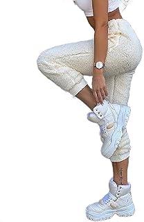 Zimaes Women Fashion Loose Fluffy Casual Elastic Waist Jogger Pant