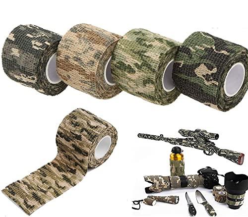 AUVSTAR Camo Tape Stoff, Camouflage Tape Wrap,selbstklebende Schutz Camouflage Tape Wrap Tactical...