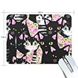 My Daily Cute Cat Flower Mouse Pad 25.0 x 19.0 x 0.5 cm, base antideslizante de goma para juegos y oficina