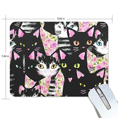 My Daily Cute Cat Flower Mouse Pad 25.0 x 19.0 x 0.5 cm, base antideslizante de goma para juegos y oficina
