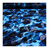 Stoff Viskose Polyester Chiffon schwarz blau Klecks
