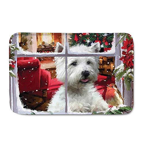 Westie Welcome Doormat Soft Area Rugs Indoor/Outdoor Door Mat for Christmas Decorative 23.6 X 15.7 inches/60 X 40 cm
