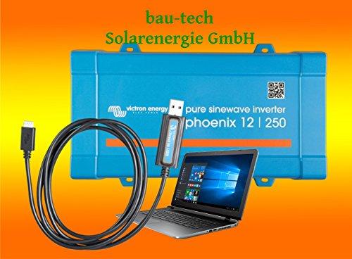 Spannungswandler Victron Phoenix 12V-250Watt VE.Direct reiner Sinus Inverter inklusiv Victron VE. Direct USB Kabel von bau-tech Solarenergie GmbH