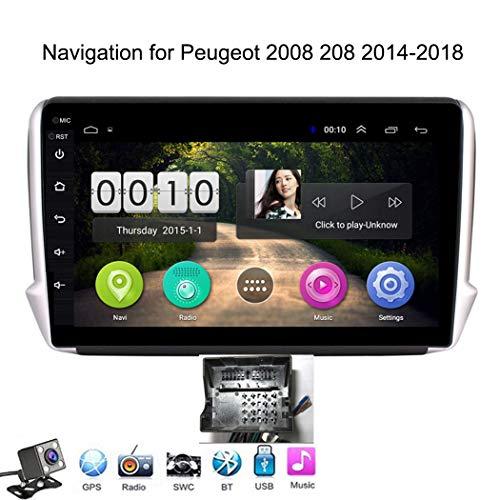 Android 8.1 GPS Navigazione Sistemi Multimediali per Peugeot 2008 208 2014-2018 con 10.1 Pollici Touch Screen, Supporto Car Radio/Chiamate Bluetooth/Park Assist,Plug 1,WiFi: 1+16 GB