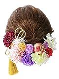 【選べる 10色展開】マムの髪飾りセット 着物 浴衣 卒業式 和装 袴 成人式 結婚式 七五三にC (赤× 紫系《和玉、かすみ草入り》)