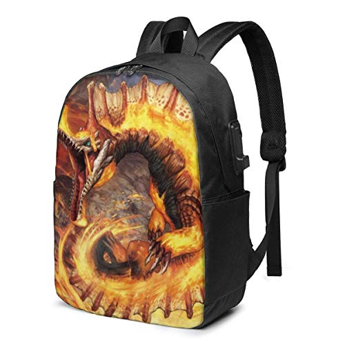 Aeenohik Monster Hunter World Laptop Backpack with USB Charging Port Headphone,Large Capacity Business Commute Backpack,College Women Men Backpack Travel Bag 17 Inch