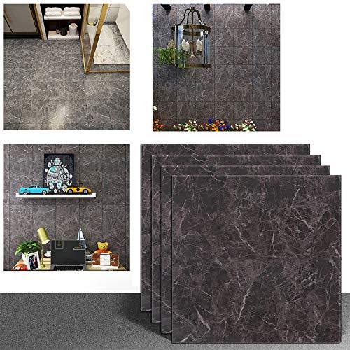 Veelike 4 Stück 30 x 30 cm schwarze Vinyl-Bodenbeläge abziehen und aufkleben, Marmor-Fliesen, öldicht, für Küche, wasserdicht, selbstklebend, Badezimmer-Fliesen-Aufkleber für Wanddekoration