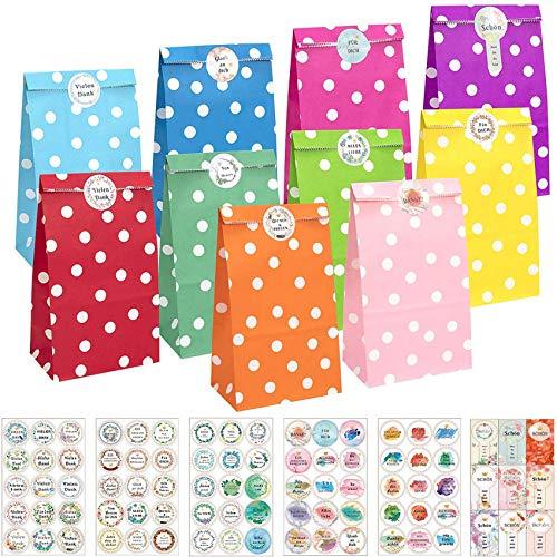 KASZOO® Papiertüten, 40 Stück Bunte Geschenktüten mit 84 Aufkleber (Auf Deutsch) Candy Tüten zum Verpacken von Geschenken, Giveaways, Kindergeburtstag, Hochzeit, Party, usw