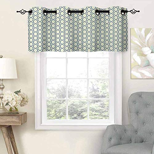 Thermal Insulated Draperies Valance Curtain Panel Vertical Curvy Lines Form Elliptic Shapes Fishing Net Lattice Pattern, Set of 2, 54'x36' for Living Dining Room Decoration