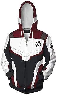 Unisex Cosplay Hoodie, Movie Hero 3D Printed Quantum Zipper Sweatshirt Jacket for Halloween, Cosplay