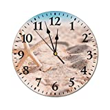 PotteLove Wall Clock Small Starfish Sand Fashion PVC Wall Clocks Battery Operated Non Ticking Silent Art Wall Clock Desk Clock Decorative for Living Room Kitchen 9.84 Inch