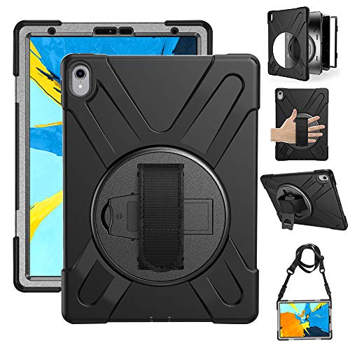 Gzerma Case for iPad Pro 11, Heavy Duty Kids Friendly Shockproof Hard Silicone Protective Cover Case for Apple iPad Pro 11 Inch 2018 with Rotating Kickstand and Hand Strap, Shoulder Belt, Black