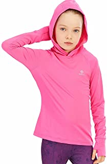 HMILES Girls Long Sleeve Tops Hoodies Active Tee Shirt Kids Workout Running Yoga Pullover with Thumb Holes 4-12 Years