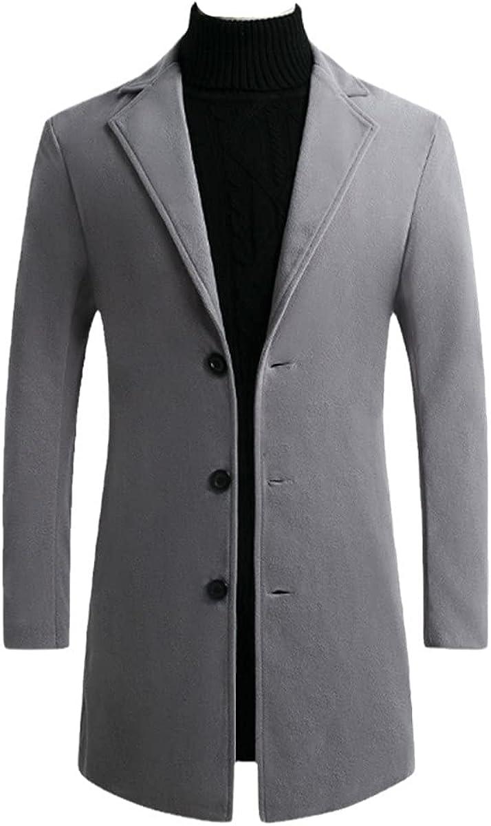 Men's Casual Long Windbreaker Jacket/Male Solid Color Single-Breasted Windbreaker Jacket