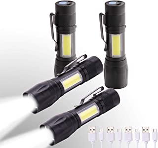 KunHe Mini Small LED Flashlight and Lantern combo Usb rechargeable flashlights Pack of 4