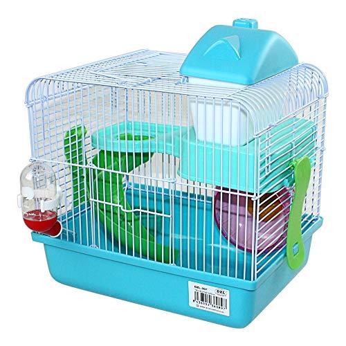 Di Ze Lin Pet Home SL DZL Jaula para hámster con perrera, rueda, bebedero, comedero y escalera 27 x 21 x 25 cm