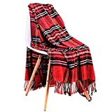 JUDYBRIDAL Plaid Chenille Throw Blanket Extra Soft Blanket All-Season Dual-Sided Home Decor Blankets with 3 Inches Tassels for Bed Sofa Couch Chair 50' W x 67' L Multi-Colored(Red)