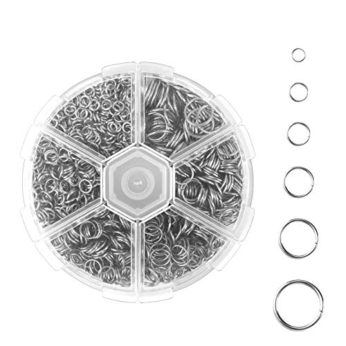 1600Pcs Open Jump Ring Jewelry Making Finding, Round Jump Ring, Silver Jump Ring with Box for Necklace Bracelet Pendants Jewellery (6 Sizes)