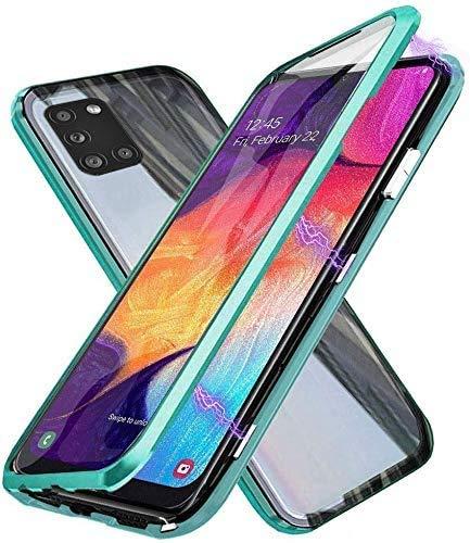 Funda para Samsung Galaxy A31 Magnetica Adsorption Carcasa 360 Grados Frente y Parte Posterior Cuerpo Completo Transparente Adsorption Choque Metal Cover Case