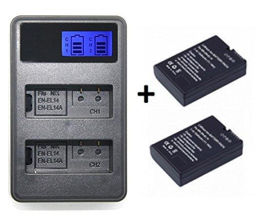 Theoutlettablet® Cargador Externo + 2 Baterías EN-EL14 para Camara Reflex Nikon d5300 d5200 d5100 d3400 d3300 d3200 d3100 p7100 p7700 p7800 P7004 (Pack Cargador + 2 baterías)