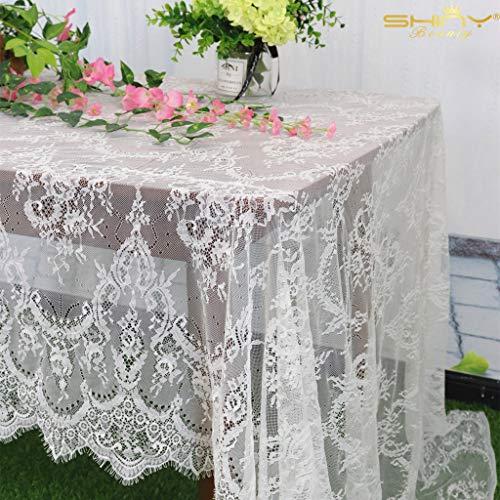 ShinyBeauty Tovaglia-Tovaglia-Rettangolare 60x120 Pollici Tovaglia in Tessuto di Pizzo Boho Elegante Tovaglia da Sposa in Pizzo Copertura da Tavolo Rettangolare per Ciglia (Bianca)