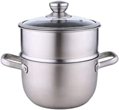 MSWL 304 Stainless Steel Soup Pot Steamer, Dual-use 2 Layer Steaming Rice Pot, Household Small Soup Pot Porridge Pot, 18-2...