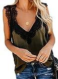 FIYOTE Top Spitze Damen Lace Trägertop Sexy Bluse Sommer Tank Top Casual Hemd V-Ausschnitt T-Shirts