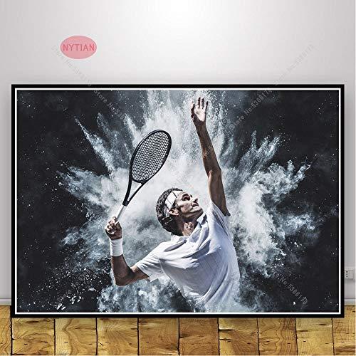 UIOLK Arte Lienzo Arte Estrella Regalo Roger Federer (Roger Federer) Cartel Pintura al óleo Pared Art Deco Arte decoración Colorida hogar