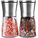 Set of 2 Trofoty Refillable Salt and Pepper Mill Set with Adjustable Ceramic Grinder