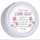 Cottage Garden Sweet Little Girl Fill Our Hearts Black Rope Trim Jewelry Music Box Plays You are My Sunshine