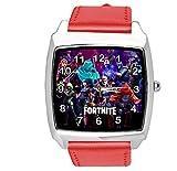 Taport - Reloj cuadrado de piel para fanáticos de Fortnite, color rojo