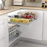 Casaenorden - Bandeja extraíble para mueble de cocina - Acabado acero cromo - Cestos extraíbles para muebles de cocina, Ancho 412-418 mm