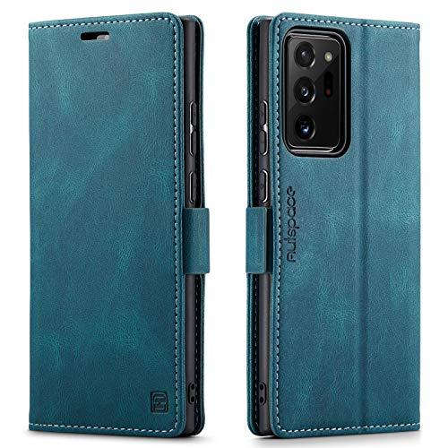 EYZUTAK LederHülle für Samsung S21 Ultra Hülle 5G, Magnetverschluss PU Leder Flip Hülle mit Kartenfächern RFID Schutz Brieftasche Standfuntion Klapphülle Vintage Ledertasche -Blau