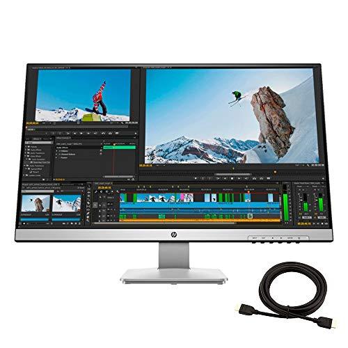 2020 Premium HP 27Q Pavilion 27 Inch 2K WQHD 2560x1440 LED VESA Compatible Monitor, HDMI, DP, VGA (Pike Silver) + NexiGo 4K HDMI Cable