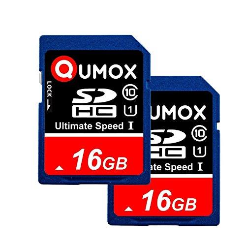 QUMOX 2pcs Pack 16GB SD HC 16 GB SDHC Class 10 UHS-I Secure Digital Speicherkarte HighSpeed Write Speed 20MB/s Read Speed Upto 80MB/s