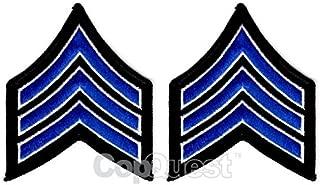 Uniform Chevrons - Royal/White on Black - 3-inch wide - Sergeant - Pair