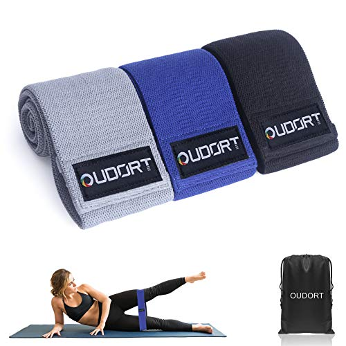Oudort Bandas Elasticas Gluteos, Set de 3 Bandas Elásticas Musculación de Tela 3 Niveles con Bolsa para Ejercicios de Gluteos, Cadera, Piernas y Brazos, Yoga, Pilates, Fitness, Crossfit
