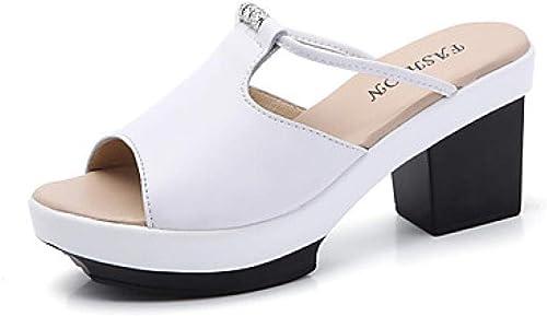 Sandales d été en Cuir Nappa pour pour Femmes Talon Chunky Blanc Noir@Blanc_US5.5   EU36   UK3.5   CN35
