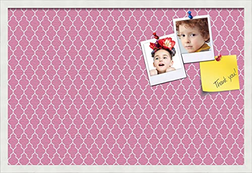 PinPix ArtToFrames 30x20 Custom Cork Bulletin Board. This Quatrefoil Pink Pin Board Has a Fabric Style Canvas Finish, Framed in Satin White (PinPix-283-30x20_FRBW26074)