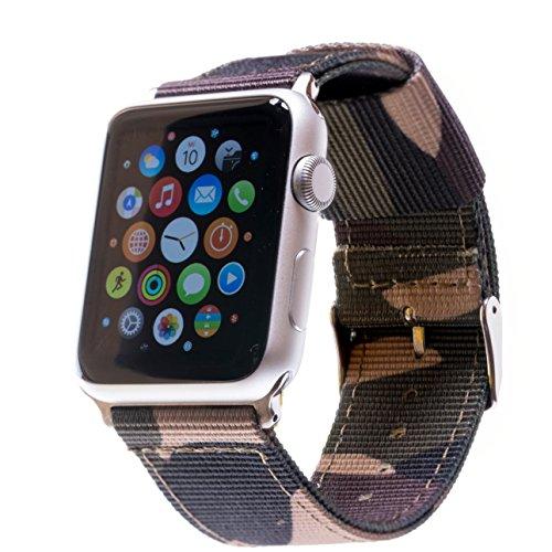 Braccialetto per Apple Watch, di nylon, Tela, Fascia, per orologi da polso, anche per Apple Watch da 42mm e Apple Watch da 38mm, colori assortiti, Adattatore Nero o Argento