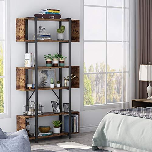 Tribesigns bücherregal mit raumteiler,Holz standregal für Wohnzimmer,Vintage Industrie 6 Eben aufbewahrungsregal,pflanzenregal