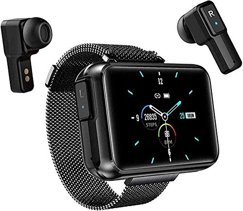 Reloj inteligente con TWS Wireless Bluetooth Headset Pulsera inteligente con pantalla táctil de 1.4 pulgadas Frecuencia cardíaca Presión arterial Fitness Tracker-verde-negro