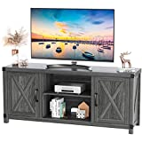 TV Console Cabinet for TVs up to 65 Inch W/Media Shelves, Farmhouse TV Stand Style Entertainment Center for Soundbar or Other Media, Barn Door TV Stand with Storage for Living Room, APRTS02D