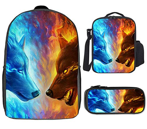 17 Inch Backpack, Bento Bag (Single Shoulder) and Stationery Box, 3 Piece Set Suitable For School [Ice Fire Double Wolf Showdown]